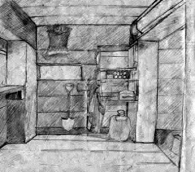The Medical Bunker on Old Baldy Where I Slept, Drawn With a Pencil Because I Didn't Have a Camera