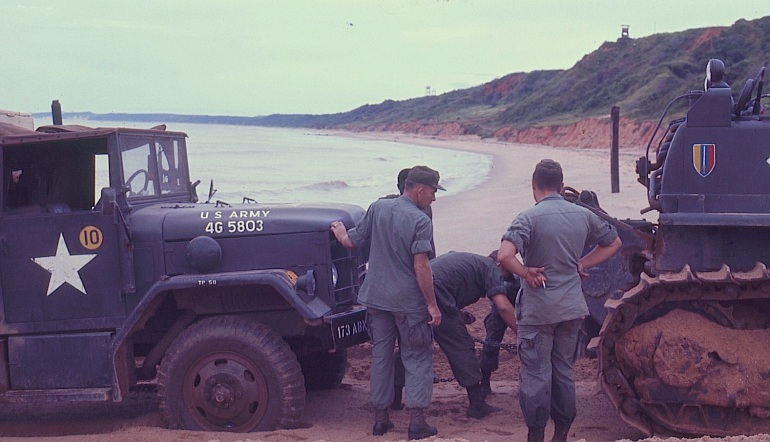 There was a natural resonance of the 2-1/2 ton truck that would vibrate it into the sand or soft soil up to the axles, not a good thing for landing under fire. The tracked vehicles, which had no problem with the sand, were blocked by the stuck truck.
